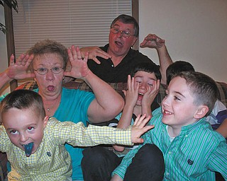 Captured making crazy faces on Easter are: Dominic Pappagallo, Grandma Pappagallo, Grandpa Pappagallo, Matthew Pappagallo, Jacob Pappagallo (hidden) and Timmy Pappagallo.