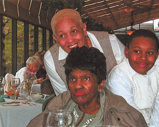 Christian J. Warren, right, is pictured with his great-grandmother, Mrs. Sally L. Goler, center, and his grandmother, Mary Coler, at a celebration of Sally's 90th birthday at Alberini's Restaurant. All are of Youngstown.