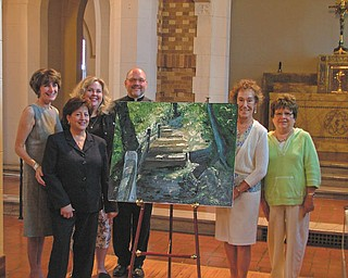 """St. Patrick Church, Youngstown, will continue its centennial celebration with """"An Evening of Canvases and Canapes"""" from 5 to 8 p.m. Sept. 25 in the church social hall, where these nine artists will display their works: Allan Orr, Thomas Welsh, Diane Drapcho, Mary Green, Ann Michelle McMasters, Catherine Lape, Diane and Patrick Crawford and Edward Baldado. A special exhibit of the works of the late Annie Finnerty James will also be included. A jazz trio from Dana School of Music will entertain guests and light refreshments will be provided. The show is open to the public. Committee members displaying one of the exhibits with parish pastor, the Rev. Edward Noga, are, from left Jane Orr, Roseann DiBernardo, Ann Michelle McMasters, Chairwoman Martha Tyrell and JoAnn Sweeney."""