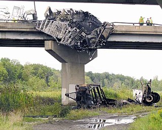 Robert Weirick of Liberty escaped with only minor injuries after the tractor-trailer he was driving ran off an Interstate 80 bridge in Hubbard Township and exploded. Weirick was found lying on the road at the western edge of the bridge.