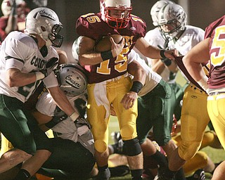 ROBERT  K.  YOSAY    THE VINDICATOR --..Mooneys QB  P J Quinn  on the Keeper as he scores from 1 yard out in the first quarter of action at Youngstown Cardinal Mooney played Lake Catholic Cougars at Stambaugh Stadium..--30-..(AP Photo/The Vindicator, Robert K. Yosay)