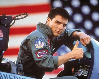 "In this film publicity image released by Paramount Pictures, Tom Cruise is shown in a promotional image for the 1986 film, ""Top Gun."" (AP Photo/Paramount Pictures)"