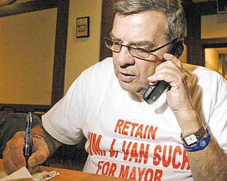 Campbell Mayor Bill VanSuch checks out the election night results. A nonpartisan primary on Tuesday pitted Lew Jackson and Nick Opencar against VanSuch.