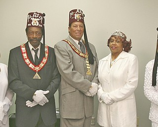 Organizing Al Asir Temple's annual dinner-dance are committee members, from left, Noble Andrew Huff, Souvenir Journal chairman and past potentate; Daughter Catherine W. Leftwich, Imperial Ritualist Committee member and past commandress and past deputy; Noble Phillip Lawrence, chief Rabban and chairman; Noble Harvey Walker, illustrious potentate and past potentate; Daughter Mable Eskew, Illustrious commandress and past commandress and past deputy; Daughter Annie M. Jones, Imperial deputy of Oasis of Youngstown and past commandress; and Daughter Cynthia Jackson, ticket 