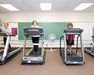From left, Evelyn Myers, 75, of Girard; Marilyn Kobal, 78, of Girard; Teresa Sidoti, of Niles, who refused to give her age; and Paul O'Connor, 74, of Liberty, exercise before attending a Medicare seminar at the Girard Multi-Generational Center. Oct. 18 will mark the center's 10th anniversary, but the facility awaits a crucial, 1.8-mill renewal levy vote in November.