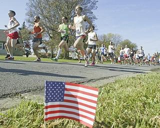 William D. Lewis|The Vindicator Runners near tart of Peace Race Sunday on Kirk Rd.