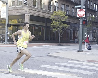 William D. Lewis|The Vindicator Way ahead of the pack Aziz Atmani heads for a win in the Peace Race.
