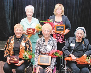 Valley Legacy Award recipients are, from left, in front, Carren Chamberlin of New Waterford, Outstanding Senior; Sandra Campbell of North Jackson, Outstanding Advocate for Seniors; Jeanne Deibel Tyler of Girard, Outstanding Senior; and back row, Gretchen Keefer Reed of Girard, Outstanding Senior; and Carol Hitchcock, Home Instead Senior Care, Outstanding Advocate for Seniors.
