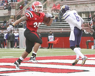 ROBERT K. YOSAY | THE VINDICATOR...Jamaine Cook  takes another ball into the endzone  for another YSU score Jamaine had 2 TD's and  ran for 111 yards --..watching is WIU  #6 James Kieron.- YSU vs Western Illinois - homecoming at YSU and a win 56-14 ......-30