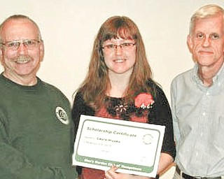 Scholarship winner chosen: The Men's Garden Club of Youngstown's scholarship committee selected Laura Ann Hlusko, a Farrell Area High School graduate, as this year's recipient of its horticulture studies scholarship. Laura is one of the founders of the FAHS Gardening Club, is a Penn State master gardener and has been involved in home gardening for 10 years. She is attending Cornell University. Above, she receives congratulations from Dan Burns, left, MGCY president, and Lynn Hoffman, chairman of the scholarship committee.