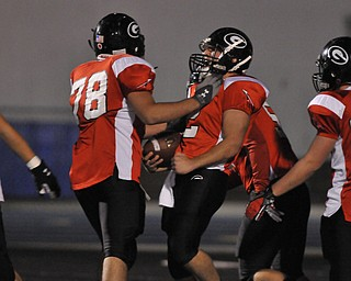 Girard quarterback #2 Dan Graziano celebrates with offensive linemen #78 Joey Buonavolonta after a Graziamo touchdown.