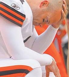 Browns kicker Phil Dawson contemplates after missing a 22-yard field goal in the fourth quarter of Sunday's game in Cleveland. The Rams won 13-12.