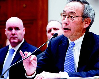 Energy Secretary Steven Chu testifi es on Capitol Hill in Washington on Thursday before the House Oversight and Investigations subcommittee hearing on the Solyndra solar-company loans.