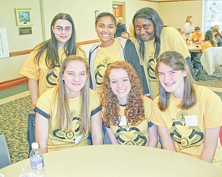 Interact conference attendees: Five members of the Fitch Interact Club and their adviser, Gary Reel, attended the District Interact Conference on Nov. 13 at the Salem Community Center. Pictured are, front row, from left, Jaclynn Choma, Spencer Skolnick and Kayleigh Choma, and, in back, Adrianna Haber (Boardman club), Sierra DuBois and Latrice Nelson. Attending were 150 students from 15 Interact Clubs. The club is a high school branch of Rotary International. Students from Canfield, Boardman, Struthers, East Palestine, Salem and Warren also attended. The day was planned by Gina Dermotta of Salem and Tom Baringer of Struthers.