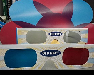 Old Navy shoppers can seach for hidden clues inside the store and win  prizes using these 3d glasses.