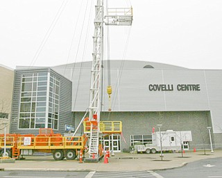 A drilling platform will greet visitors today at the Youngstown Ohio Utica and Natural Gas conference and expo at the Covelli Centre on Front Street in downtown Youngstown.