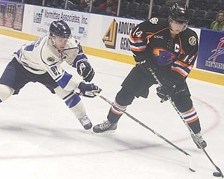 The Youngstown Phantoms' Mike Ambrosia (14) battles Sioux Falls' Bryan Moore (21) for the puck during Thursday's USHL game at the Covelli Centre. The Phantoms fell to the Stampede 2-1 in a shootout.