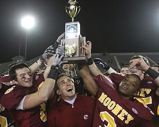 Youngstown Cardinal Mooney won their 8th  championship as they beat  the Shawnee Braves in Fawcett Stadium  21-14. (AP Photo/The Vindicator, Robert K. Yosay)