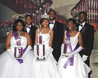 Miss Cinderella was crowned at the 56th Annual Cinderella Ball at an elegant affair Nov. 25 at Mr. Anthony's in Boardman. In the center are Miss Cinderella Ayana Durden and her escort, Jantz Clinkscale. At left are First Attendant Janae Ward and her escort, Emmett Conner; and at right are Second Attendant Briana Curd and her escort, Jesse Hardin Jr.
