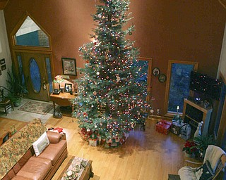 JESSICA M. KANALAS | THE VINDICATOR Paula and Frank Dietz's 18-foot Christmas tree sits in the great room of their Springfield Township home, which boasts a 24-foot-high ceiling.