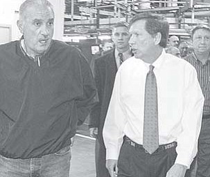 Local UAW leader Jim Graham and Gov. John Kasich tour the General Motors Lordstown plant in January.