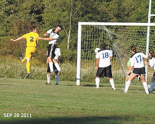 Colton Horvath, a junior on the Jackson Milton High School soccer team, is hitting the head shot toward the goal. He is the son of Randy Horvath and the late Mary Ann Rochford Horvath. The photo was taken by his aunt, Shelly Toth of Austintown.
