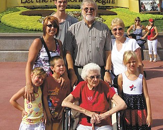 Karen Kolenich of Youngstown submitted this picture of her family's trip to Disney World in Orlando, Fla., in September. It was the first trip to the theme park for her mother, 92-year-old Ann Cirelli (front row). With her were her great-grandchildren, left to right, Brooklyn Ciminero, Aidan Kolenich and Alexis Kolenich; Lori Ciminero, her granddaughter; Richard Kolenich, her son-in-law; and daughter Karen. In back is grandson Jason Kolenich.