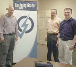 From left, Elijah Stambaugh, founder of The Learning Egg LLC; Bob Adduci, COO; and Ken Corbett, lead software engineer, are preparing for the launch of their product, Lightning Grader.