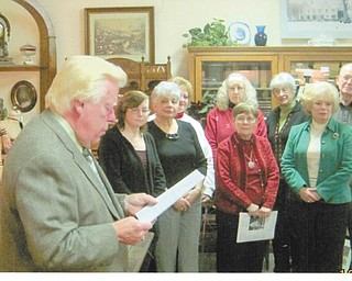 Salem Mayor Jerry Wolford, left, installs Salem Historical Society officers for 2012: 1st row, left to right, April Trenkelbach, Judi Allio, Dixie Gordon and B.J. Abrams; 2nd row, Judy White, Alice Deatherage, Janice Lesher and David Stratton. Absent from the picture are David Shivers and Carolyn Alesi.