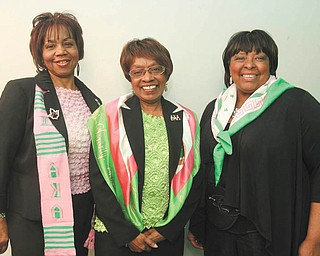 JESSICA M. KANALAS | THE VINDICATOR: The Annual Snowflake Ball sponsored by Alpha Kappa Alpha Sorority Inc. will take place Saturday at Stambaugh Auditorium. Beverly Fortune, left, is a co-chairwoman of the event. Brenda Moore, middle, and Alnita Russell, right, are committee members. Co-chairwoman Sandy Smith-Graves is not pictured.