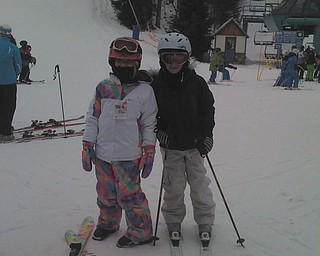 Ski buddies Payton Loomis and Cassie Sorber enjoy a day of skiing at Holiday Valley. Photo sent in by Chris Loomis.
