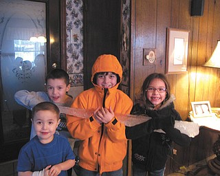 Autumn Feo sent in this photo of when she and her cousins found a huge icicle outside and brought it in to show everyone. From back left are Andrew Garchar, Jeffrey Feo, Gianna Garchar and in the front, Rocco Garchar.