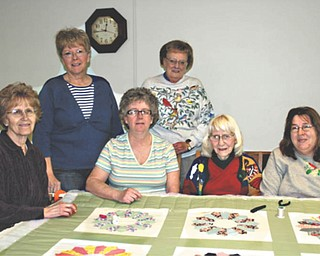 Members of the Ladies Aide Quilters at Austintown Community Evangelical Covenant Church are, from left to right, Joyce Shood, Vera Orosz, Sue Macias, Esma Elliott, Shirley Dull and Nancy Locke. The group earns money for the church by making and selling quilts and having quilt raffles. They also donate quilts to local charities. Group members say they welcome those who are interested in learning to quilt and they'll gladly teach them.
