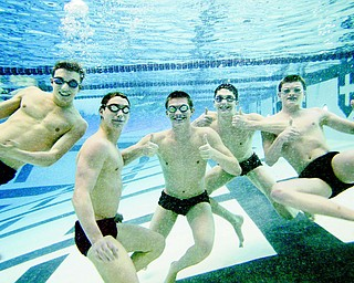Canfield swimmers, from left, Michael DiDomenico Nicholas Montalto, Mark Dalvin, Daniel Bogen and Connor Brady clown around during practice Tuesday in the pool at Youngstown State University. The five will be competing this weekend at the Division II state swim meet in Canton.