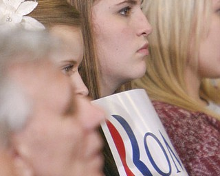 ROBERT K. YOSAY|THE VINDICATOR..Angela Murphy from Fitch - listens intently as Mitt talks - Mitt Romney, one of the front-runners for the Republican presidential bid, was the first of the GOP candidates to campaign in the Mahoning Valley. @ Taylor Winfield plant on Salt Springs Rd... ...-30-