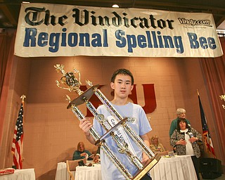 ROBERT  K.  YOSAY  | THE VINDICATOR --..Max Lee - Winner and Champ The 79th  Regional Spelling Bee sponsored by the Vindicator was held at YSU Kilcawley Center with 65 spellers vieing for the coveted trophy and trip to Washington for the National Spelling Bee s--30-..(AP Photo/The Vindicator, Robert K. Yosay)