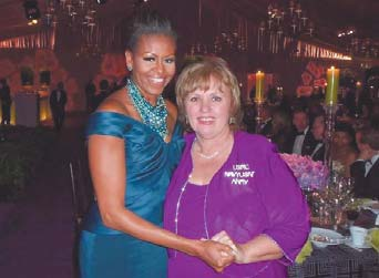 Elaine Brye, of Winona, right, was asked to attend Wednesday's White House state dinner by First Lady Michelle Obama. Brye sent the first lady a letter in December thanking her for her support of military families. Brye's four children are service members.