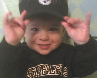 Raiden K. Rossi always smiles when he has his Steelers gear on! Photo submitted by Sandy Rossi.