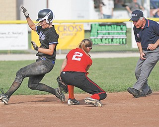 Lakeview's Alyssa Nicholas is tagged out at second base by Ashley Hefferon of Struthers during Monday's game. Lakeview won the non-league game 6-2.