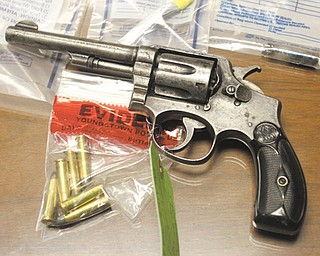 Law enforcement confiscated this revolver during last weekend's Operation Shield initiative. The gun was one of several police rounded up and put on display during a Tuesday press conference.