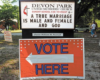 A sign displays a message opposed to gay marriage in front of the Devon Park United Methodist Church polling site Tuesday in Wilmington, N.C. The measure to amend the state constitution to define marriage as between one man and one woman passed overwhelmingly.