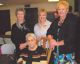 Darlene Mix of Berlin Center, left, says so many things make her mother, Helen Engle of Salem, seated, very special. Sharing the visit are daughter-in-law Sandie (Engle) Brown, center, and daughter Betty Jones of Salem.