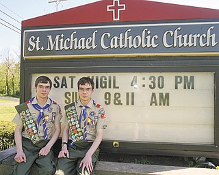 Alec and Eric Yurchekfrodl, 18, are twins who worked their way through Cub Scouts into Boy Scouts, starting in second grade. The seniors at Austintown Fitch High School recently earned their Eagle Scout awards by completing projects at St. Michael Catholic Church in Canfield.
