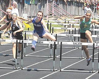 Sage Spotleson of Poland leads the way in the 100-meter hurdles last weekend at Reilly Stadium in Salem. Spotleson qualified for the regional in the event in Bedford this week.