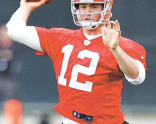 Cleveland Browns quarterback Colt McCoy passes during practice at the team's headquarters in Berea, Ohio, on