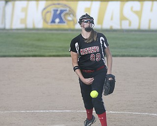 JESSICA M. KANALAS  | THE VINDICATOR..Mathews #99 Cheyenne Eggens pitches during the bottom of the third inning against Jackson Milton for the Division 3 Regional Semifinal game at Kent State University.