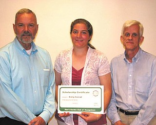 The Men's Garden Club of Youngstown recently announced its 22nd scholarship winner, Emily Conrad of Louisville, Ohio. She is a student at Kent State Salem in the horticulture program. Above are Stan Jones, left, horticulture program director at Kent Salem, Conrad and Lynn Hoffman, chairman of the scholarship committee.