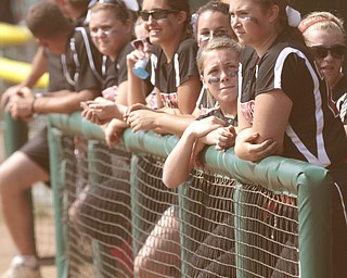 ROBERT K. YOSAY | THE VINDICATOR..Matthews teams  watches as the game winds down..A couple of bloop hits combined with a three-base error on a sacrifice bunt to propel the Mathews High softball team to its biggest game in school history..Junioir shortstop Jessica Marsico drove in two runs plus made a sliding catch in right field in the seventh inning to help the Mustangs defeat Covington, 5-3, in ThursdayÕs Division IV state semifinal game at Firestone Stadium.. - -30-..