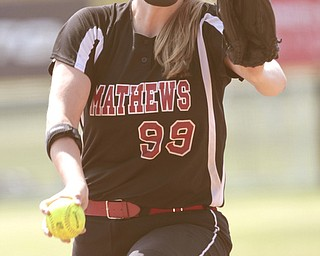 ROBERT K. YOSAY | THE VINDICATOR..Pitcher Cheyenne Eggens   14 year old freshman pitched Matthews into A couple of bloop hits combined with a three-base error on a sacrifice bunt to propel the Mathews High softball team to its biggest game in school history..Junioir shortstop Jessica Marsico drove in two runs plus made a sliding catch in right field in the seventh inning to help the Mustangs defeat Covington, 5-3, in ThursdayÕs Division IV state semifinal game at Firestone Stadium.. - -30-..