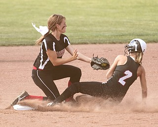 ROBERT K. YOSAY | THE VINDICATOR..Easy Out - as  Matthews  Jessica Marsico  puts out  #2 Casey Yingst  at second base as she tried to steal - in the first innning -=..A couple of bloop hits combined with a three-base error on a sacrifice bunt to propel the Mathews High softball team to its biggest game in school history..Junioir shortstop Jessica Marsico drove in two runs plus made a sliding catch in right field in the seventh inning to help the Mustangs defeat Covington, 5-3, in ThursdayÕs Division IV state semifinal game at Firestone Stadium.. - -30-..